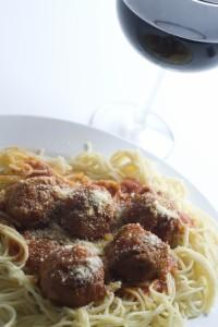 pasta and wine photo
