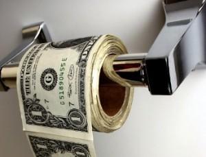 money on toilet roll