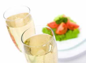 champagne and salad