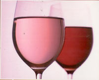 rose wine in glasses