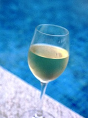 White wine by the pool