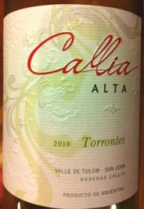 Callia Alta 2010 Torrontes