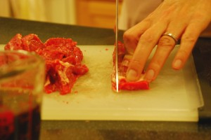 Cutting flank steak for beef jerky
