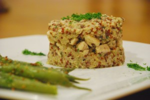 Mushroom quinoa risotto with chicken